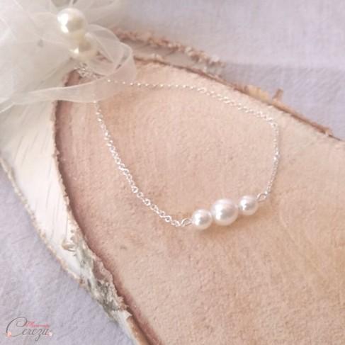 """Bracelet mariage épuré perles argent doré ou doré rose """"Alessandra""""  Bijou mariage personnalisable"""