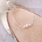 """Bracelet mariage épuré perles argent ou plaqué or """"Alessandra""""  Bijou mariage personnalisable"""