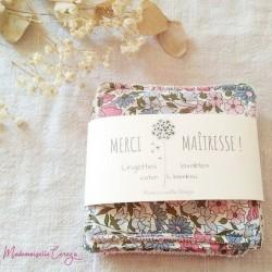 Lingettes démaquillantes lavables liberty rose bleu, cotons ecologiques