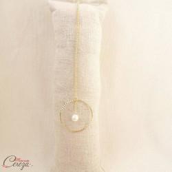 """Bijou de dos mariage perle et anneau original """"Soline""""  Bijou mariage personnalisable"""