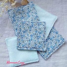Lingettes lavables liberty bleu gris, cotons démaquillants ecologiques