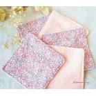 Cotons démaquillants lavables liberty rose corail, lingettes ecologiques