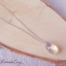 "Sautoir midi pendentif pendentif cristal Swarovski argent ou doré ""Louane"""