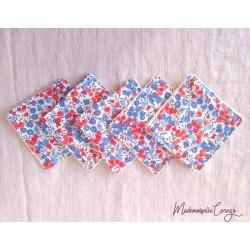 Lingettes démaquillantes lavables liberty rouge bleu, cotons démaquillants ecologiques