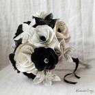 """Bouquet de mariée origami noir blanc fleurs de papier """"Crazy Love"""""""