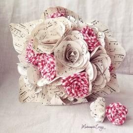 """Bouquet de mariée guinguette champêtre vichy et partition """"Belle époque"""""""