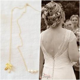 """Collier dos nu doré champêtre chic pour robe de mariée dos nu feuille  """"Ainoha""""  Bijou mariage personnalisable"""