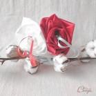 Porte-alliance original mariage rouge et blanc