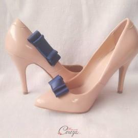 Bijoux de chaussures noeud bleu marine clips Mary