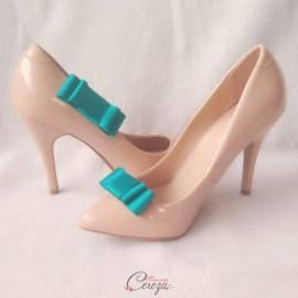 Bijoux de chaussures noeud vert émeraude clips Mary