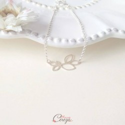 "Bracelet mariée simple feuille ajourée ""Neve"""