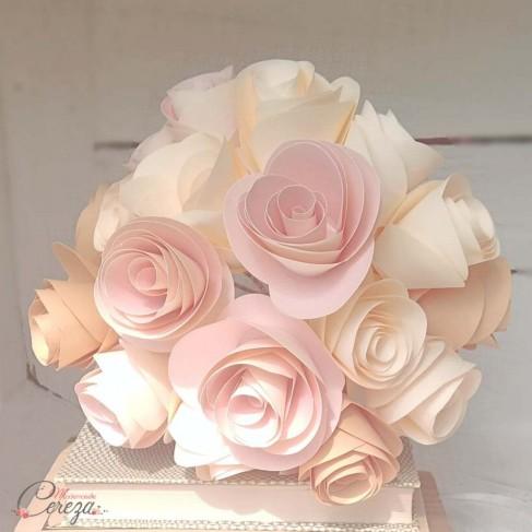 """Bouquet mariée papier origami """"Gabriella"""" rose poudre ivoire beige"""