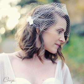 Voilette de mariée dentelle perlée 'Calais'