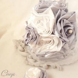 """Bouquet de mariage d'hiver """"Clémence""""  ivoire gris argent ou ivoire bordeaux"""
