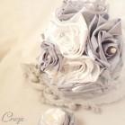 """Bouquet de mariage satin """"Clémence""""  ivoire gris argent"""