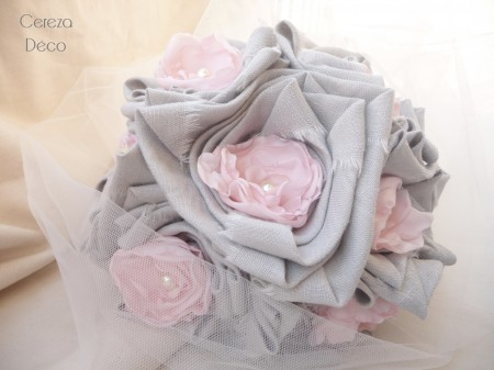 bouquet mariee original tissu rose gris perle 4