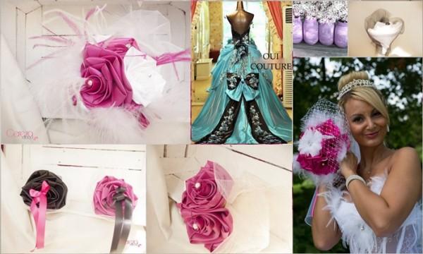 mariage cabaret rose fuchsia voilette bouquet de mariée original personnalisé sur mesure fuchsia turquoise noir bijou cereza deco
