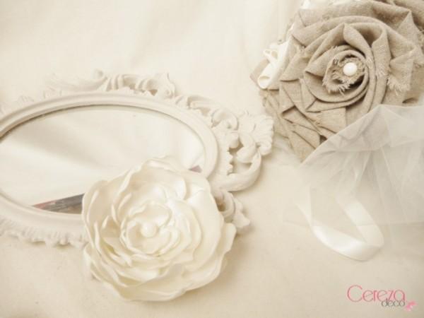 Fleur bijou de cheveux accessoires mariage champêtre satin ivoire cereza deco 2