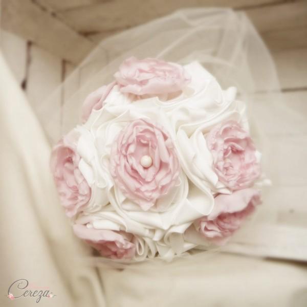accessoires mariage rose poudré ivoire bouquet fleur cheveux boutonnière cereza deco 2