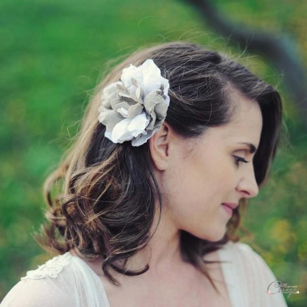 bijou de tete mariage floral lin blanc beige cereza mariage nature