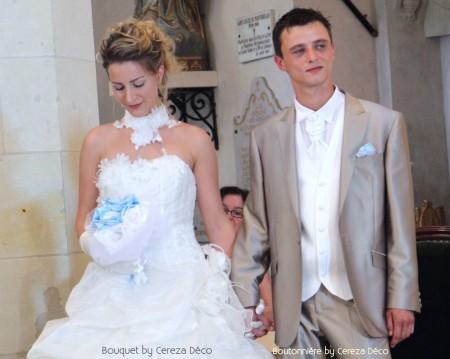 bouquet bijou mariage original bleu ciel blanc tissu satin perle cereza deco 3b