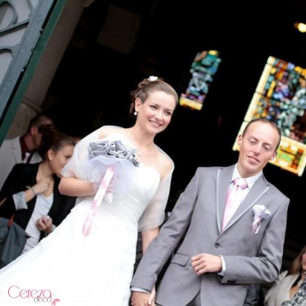 bouquet de mariée original chic gris argent ivoire rose cereza 3
