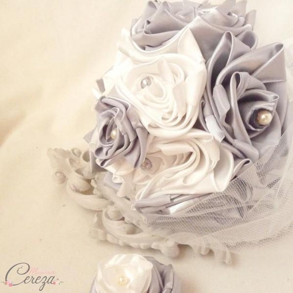 bouquet de mariée original ivoire gris éternel tissu cereza deco clemence 2
