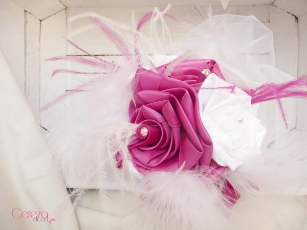 bouquet de mariee plumes blanc rose fuchsia personnalise Melle Cereza