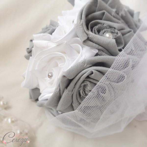 bouquet de mariage champêtre chic lin gris satin blanc Karine cereza deco 3