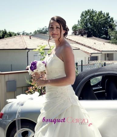 bouquet de mariee original tissu ivoire violet laçage corset cereza deco