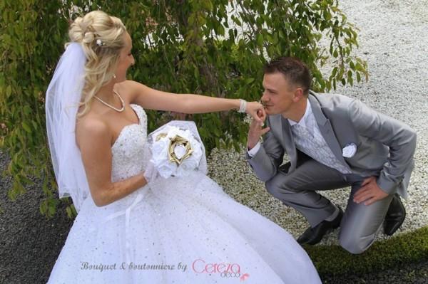 bouquet mariage féérique chic original blanc or perle strass personnalisé sur mesure cereza deco real wedding R