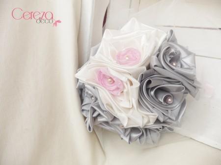 bouquet mariage ivoire gris rose tissu cereza deco