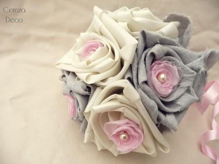 bouquet mariage original ivoire gris rose tissu lin cereza deco 3