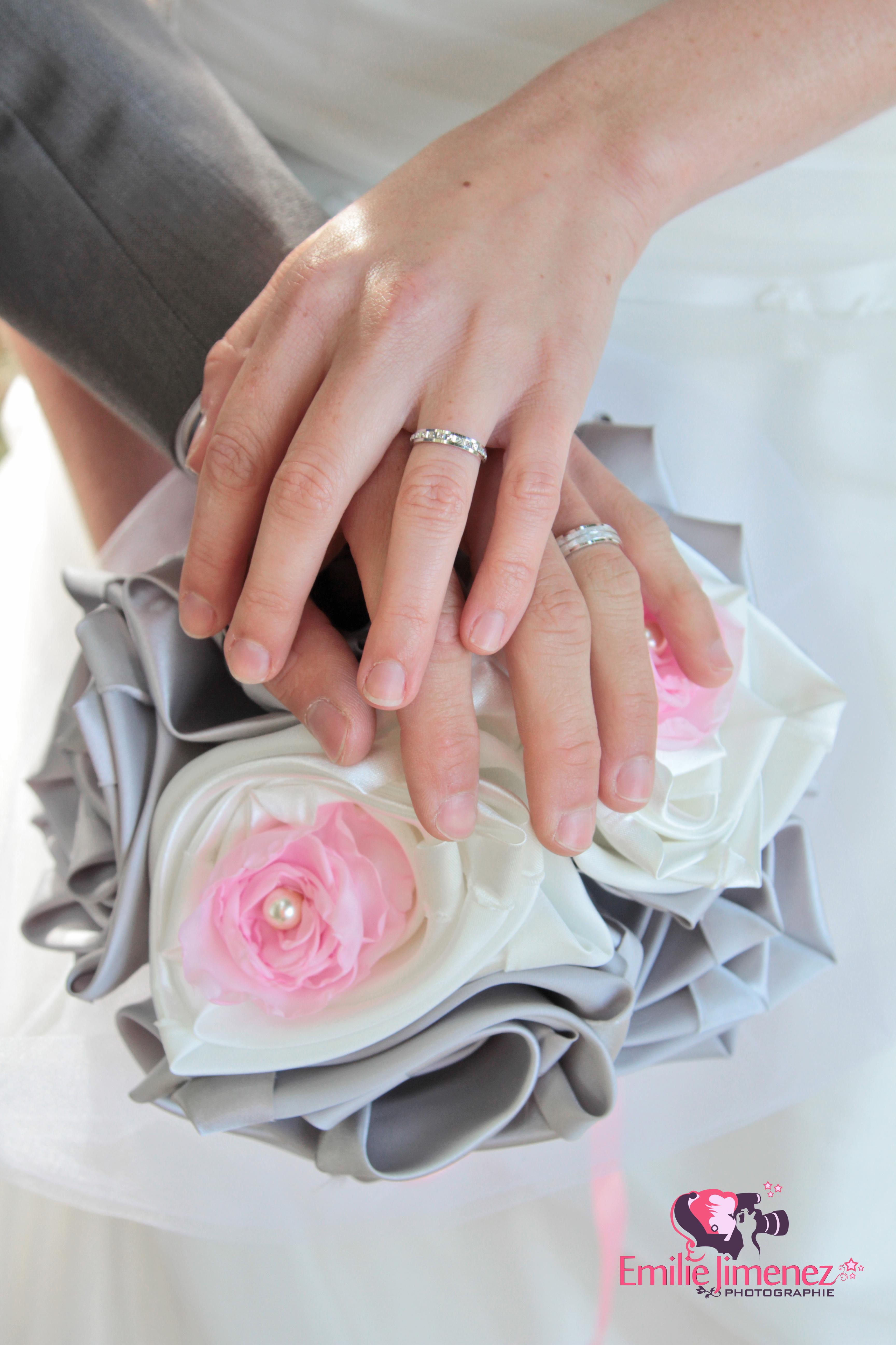 bouquet mariage original tissu blanc rose gris argent Anne Sophie 15