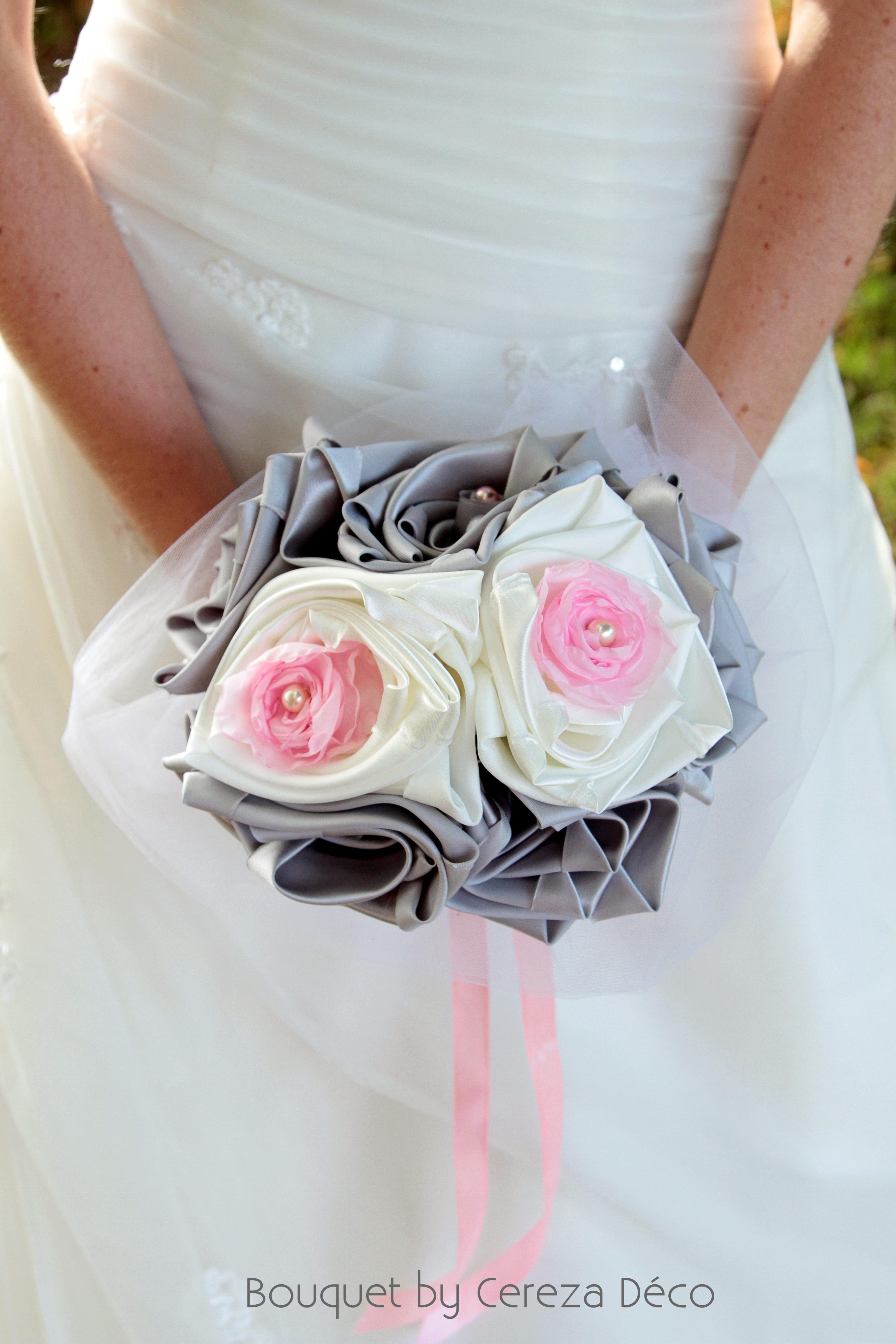 bouquet mariage original tissu blanc rose gris argent Anne Sophie (5)
