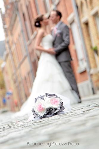 bouquet mariage original tissu blanc rose gris argent Anne Sophie (6)