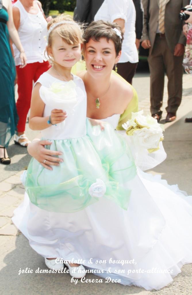 bouquet mariage original tissu blanc vert anis porte alliance fleur personnalisé cereza deco