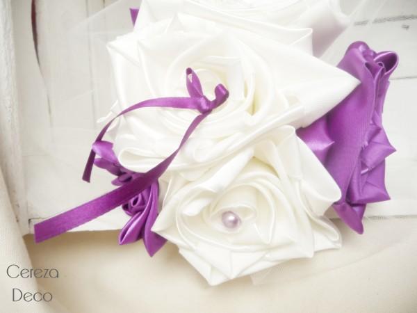 bouquet mariage original tissu ivoire violet tulle bijou perle cereza deco 5