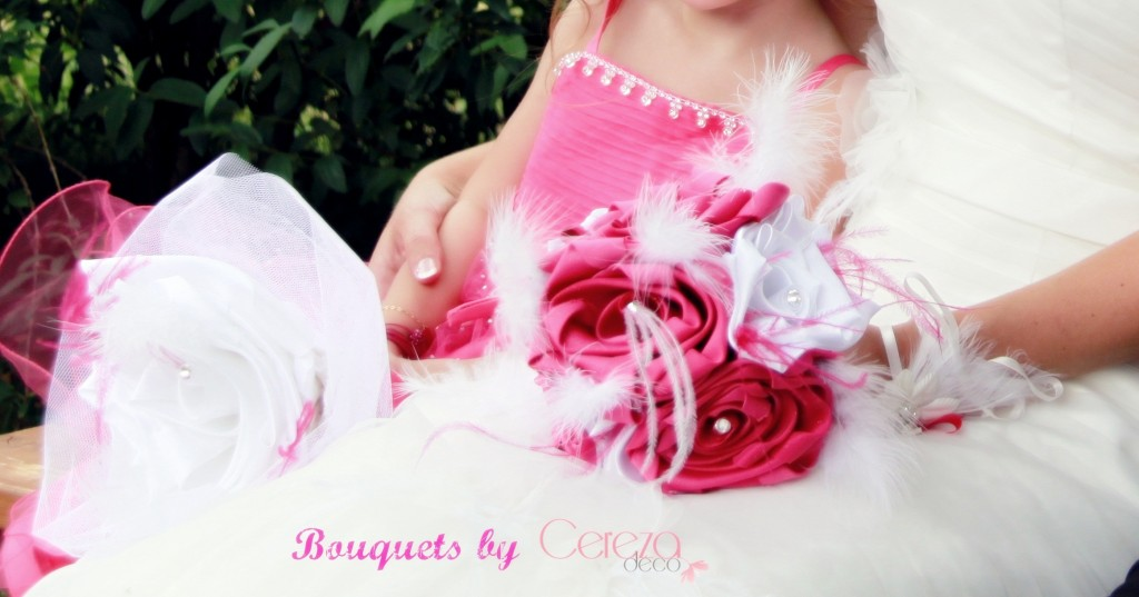 bouquet mariage original tissu plume strass blanc rose fuchsia sur mesure personnalisé cereza deco b