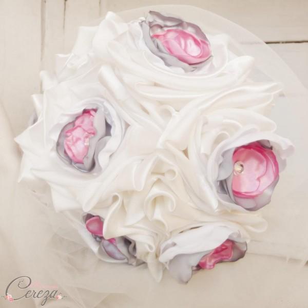 bouquet mariage original tissu strass ivoire blanc rose gris cereza deco 3