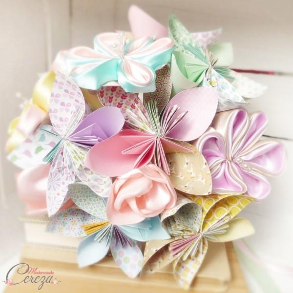 Bouquet de mariée original pastel origami personnalisable Mademoiselle Cereza Dolce Vita