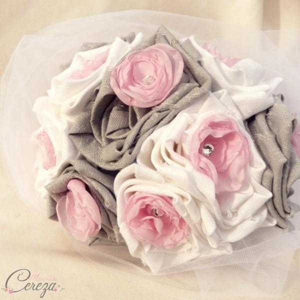bouquet mariage tissu original rose gris blanc gris strass mademoiselle cereza deco