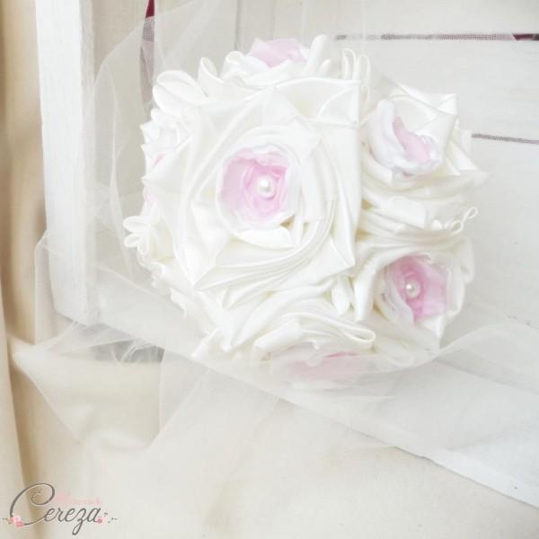 bouquet mariee tissu original ivoire blanc rose shabby chic