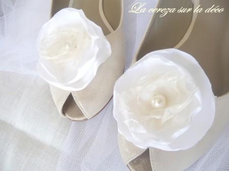 clip chaussure mariage blanc & ivoire bijou de chaussure cereza deco