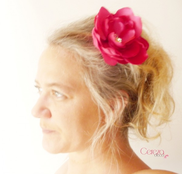 grande fleur bijou de cheveux mariage  fuchsia strass cereza deco 5