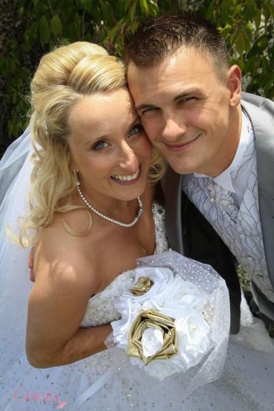 mariage blanc or bouquet original tissu plumetis perles cereza deco