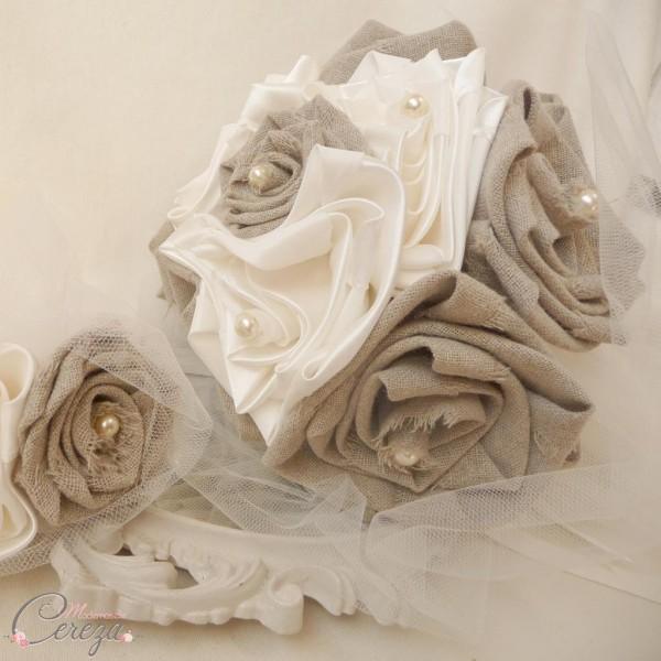 mariage champetre chic bouquet de mariée original lin satin cereza (2)