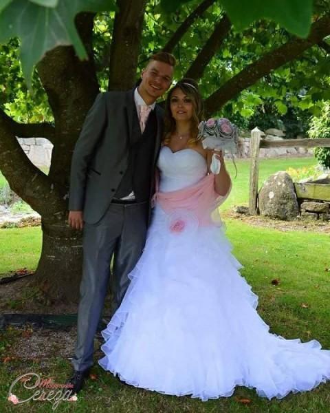 mariage romantique pastel en bretagne rose gris strass bouquet original melle cereza deco