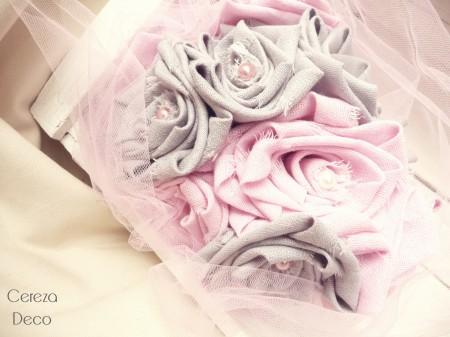 mariage rose gris shabby chic bouquet tissu original cereza deco 3