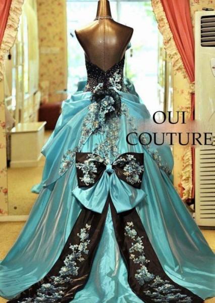 robe de mariee originale bleu turquoise noir